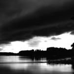 B&W Thunderstorm at Sunset Missouri River